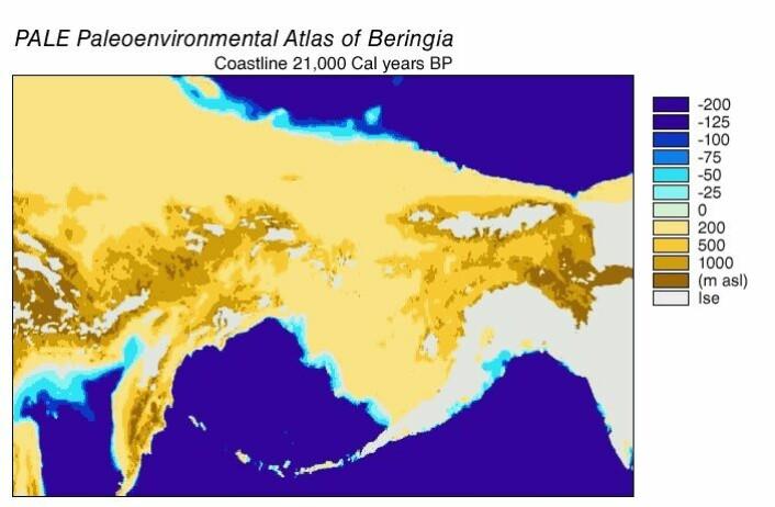 Beringia, slik det kan ha sett ut for 21 000 år siden. (Bilde: NOAA)