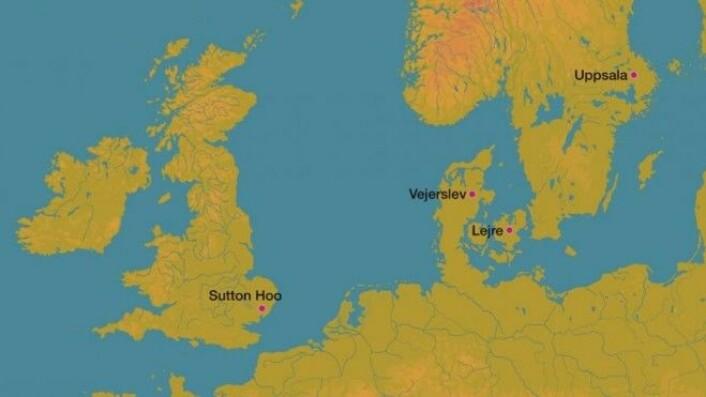 Vejerslev fremhevet sammen med andre samtidige steder som arkeologisk har vist seg å dekke over en form for kongedømmer i yngre germansk jernalder. (Kart: Moesgård Museum)