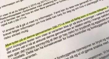 «Mye tyder på at denne genvarianten ikke er så farlig som vi trodde tidligere», står det i brevet fra OUS, datert 8. september 2015. Det var et halvt år etter at Karin fjernet brystene og ett år etter at en ansatt ved laboratoriet slo alarm om at sykehuset hadde feiltolket genvarianten. <br>(Foto: Anne Lise Stranden/forskning.no)