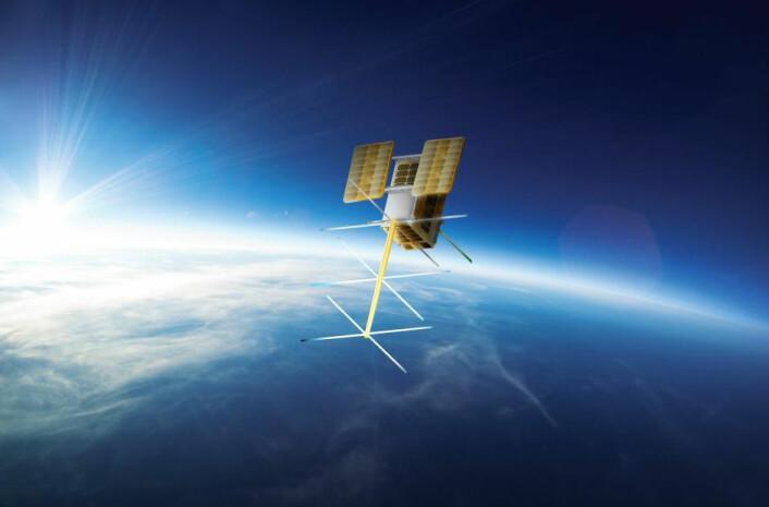 Den norske satellitten NorSat-2 skal blant annet kartlegge skipstrafikk og prøve ut et nytt system for datakommunikasjon mellom landstasjoner og skip. (Illustrasjon: Norsk Romsenter)
