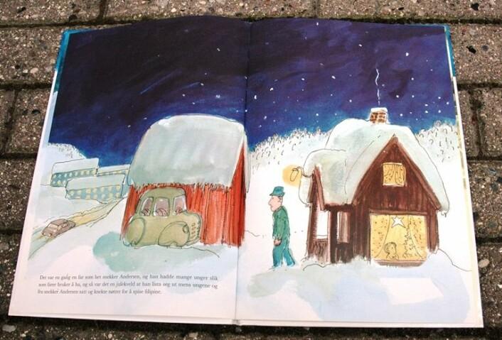 I et gult vindu ser et barn med et undrende blikk på adventstjernen, som er modellert etter betlehemsstjernen. Det er Hans Normann Dahls som har tegnet fortellingen om Snekker Andersen og Julenissen. (Foto: Høgskolen i Oslo og Akserhus / Gyldendal)