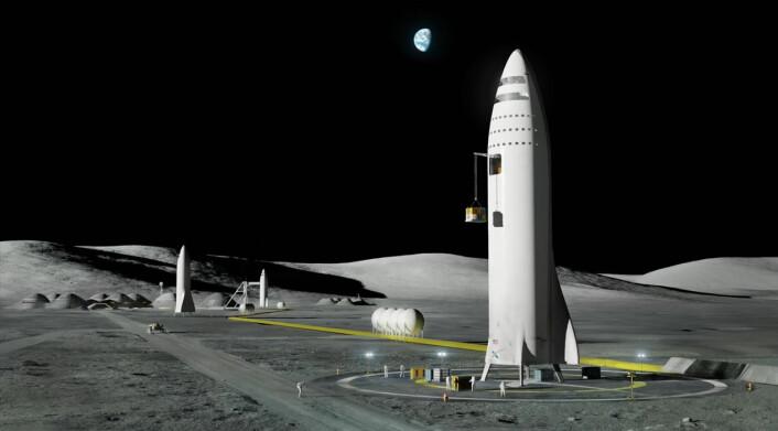 Romskipet BFR skal kunne gjennomføre en måneferd og returnere til Jorda med bare én drivstoffylling i jordbane. Alle deler av romskipet er gjenbrukbare. (Illustrasjon: SpaceX, fra YouTube-video av foredraget Elon Musk holdt på romkongressen IAC i Adelaide, Australia 20.9.2017)