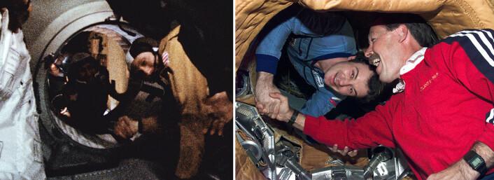 Til venstre: Astronaut Thomas P. Stafford – i forgrunnen – og kosmonaut Aleksej Leonov utveksler håndtrykk gjennom luken mellom romskipene Apollo og Sojus den 17. juli 1975. Til høyre: Nesten tjue år seinere trykker romfergekaptein Robert Hoot Gibson – i forgrunnen – hånden til kommandør på den sovjetiske romstasjonen Mir, Vladimir Dezhurov. (Fotos: NASA)