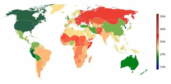 Hver fjerde mann og hver femte kvinne i verden har nå for høyt blodtrykk. Kartet viser prosentandelen menn med for høyt blodtrykk i alle land. Legg merke til hvordan land med høyt blodtrykk klumper seg sammen i Afrika og Øst-Europa. (Kart fra NCD Risk Factor Collaboration)