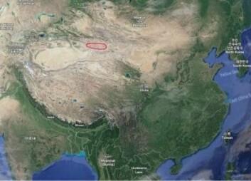 Fossilene av knokler og egg ble funnet i Turpan-Hami-senkningen i Xinjiang-provinsen i det nordvestlige Kina. Det er gjennom tiden funnet mange dinosaurfossiler ulike steder i Kina. (Screenshot fra Google Maps)
