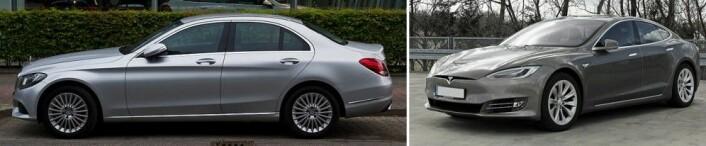 "Mercedes-Benz C-klasse mot Tesla Model S. Nb: Bilen til venstre er en Mercedes-Benz_C_220_BlueTEC_Exclusive_(W_205) med lavere utslipp, ikke samme modell som beskrevet i teksten. (Foto: M93, CC-BY-SA 3.0 Germany/Mariordo, <a href=""https://creativecommons.org/licenses/by-sa/4.0"">CC-BY-SA 4.0</a>)"