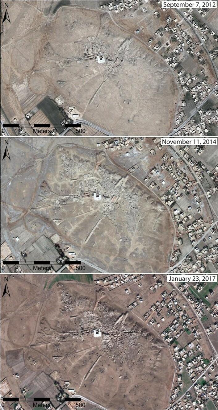 Dette er utviklingen i oldtidsbyen Mari mellom 2012 og 2017. Byen ligger sørøst i Syria. (Bilde: DigitalGlobe 2017/CC BY)