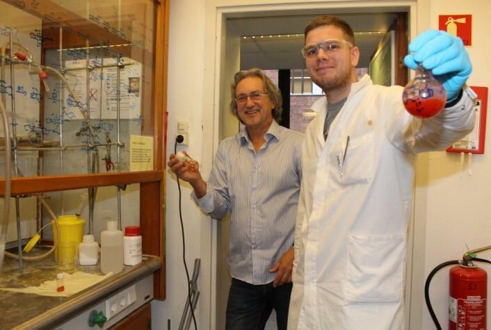 De naturlige iodinin-stoffene er rødaktige eller kobberskimrende, i likhet med de Viktorsson har lagd i laboratoriet. (Foto: Bjarne Røsjø / UiO)