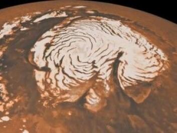 Vann er det massevis av på Mars, men stort sett bare i form av is. Ved polene er isen synlig. (Foto: NASA)