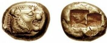 Disse myntene fra Lydia er fra begynnelsen av 500-tallet. Mynten til venstre er påtrykt et løvehode og en skinnende sol. (Foto: CNG)