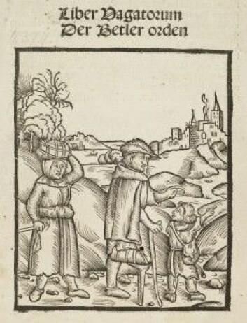 En tiggerfamilie på vei mot byen. Er de ekte eller falske tiggere? Illustrasjon fra heftet om tiggerne som ble utgitt første gang i 1510 og som Luther ble så begeistret over at han skrev forord til det.