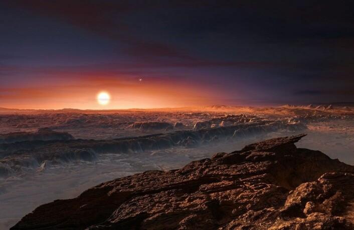 Planeten Proxima b, slik kunstneren tenker seg den. Ross 128 b kan være enda bedre egnet for liv, men er omtrent like stor og går også rundt en rød dvergstjerne. (Illustrasjon: ESO/M. Kornmesser)