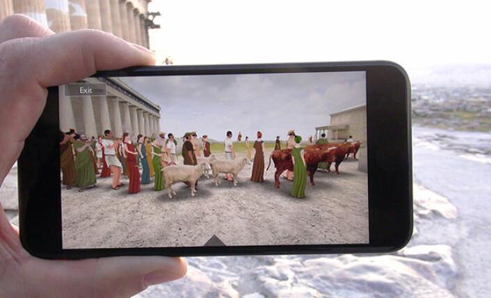Studenter ved UiO utviklet og testet en simulering av den såkalte Panathenaia-prosesjonen på Akropolis i Athen. (Foto: Gunnar Liestøl)
