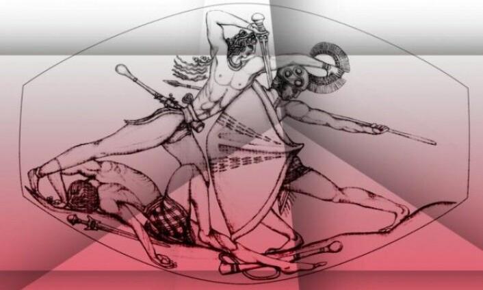 Her ser man en tegning gjort digitalt som tydeliggjør motivet. [Foto: University of Cincinnati]
