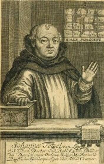 Den katolske avlatsselgeren Johann Tetzel er blitt stående som symbolet på alt det Martin Luther og tilhengerne hans var imot. Han er mye av årsaken til de 95 tesene Luther skrev mot avlatshandelen – og kan sånn sies å ha vært med på å skape protestantisme. Stakkars Tezel gikk det ikke bra med. I takt med Luthers voksende popularitet, ble han avskydd av stadig flere. Det gikk så langt at Luther måtte trøste dominikanermunken.