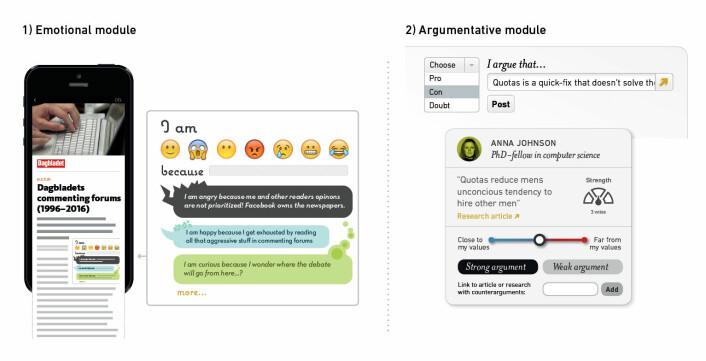 To ulike konsepter av kommentarfeltdesign: en modul for følelsesmessig respons med vekt på å få frem ulike perspektiver, og en argumentasjonsmodul med vekt på åpenhet for argumenter baserte på ulike verdisett. (Foto: Nina Lysbakken)
