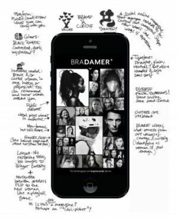 Et alternativt damebladkonsept med vekt på mot og nysgjerrighet, designet for mobil som plattform. (Foto: Nina Lysbakken)