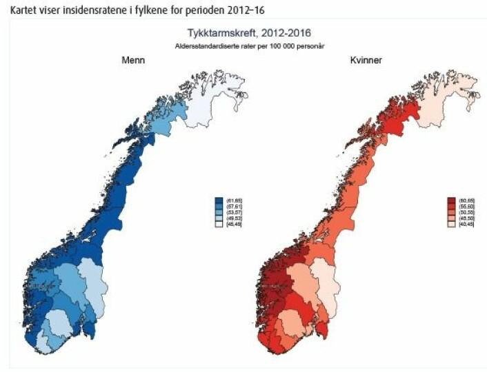 Kartet viser hvor det er minst og mest forekomst av tarmkreft. Kvinner på Vestlandet er mest utsatt, mens kvinner i Finnmark og Hedmark er minst utsatt. Menn i Nordland, Trøndelagsfylkene, Møre og Romsdal, Hordaland, Rogaland, Vestfold og Østfold har flest nye tarmkreftdiagnoser. Tallene er justert for alder. (Skjermdump fra Kreftregisterets rapport)