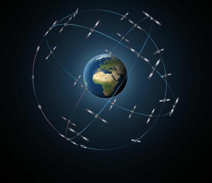Når det nye europeiske navigasjonssystemet Galileo er ferdig, vil det telle 30 satellitter. (Foto: ESA / P. Carril)