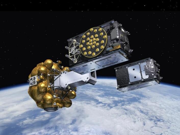To Galileo-satellitter settes ut i sine motsatte baner fra frisettingsmekanismen de skytes opp med. (Grafikk: ESA / J. Huart)
