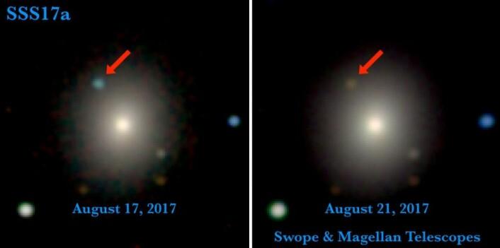 Vi ser et lys! Teleskoper verden over observerte krasjet mellom de to nøytronstjernene. Bildet til venstre er det første som ble tatt av hendelsen, 11 timer etter at gravitasjonsbølgene ble registrert. Bildet til høyre er tatt fire dager senere. Da er lyset blitt svakere og rødere. (Foto: 1M2H/UC Santa Cruz og Carnegie Observatories/Ryan Foley)