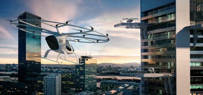 Transportselskapet Uber foreslår at eVTOL-fartøy kan lande ved trafikkmaskiner eller på taket av garasjeanlegg. Produsenten Volocopter ser for seg plattformer bygget ut fra skyskrapere. (Illustrasjon: Volocopter)