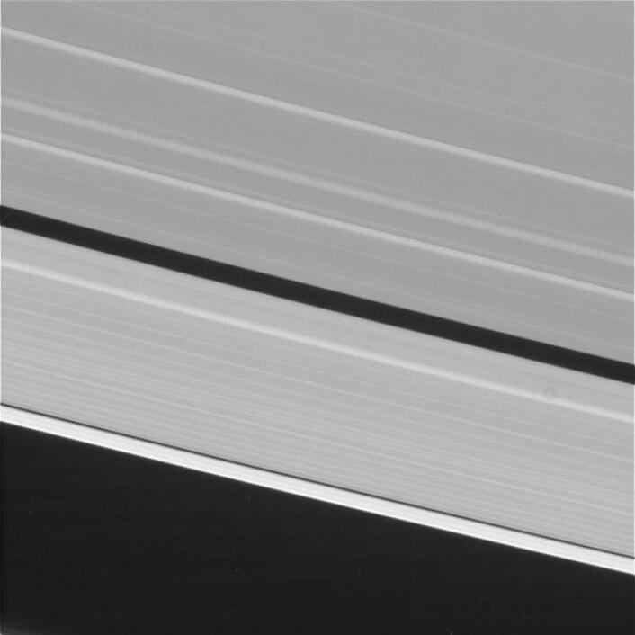 Cassini tok sine siste bilder 14. september 2017 og på sin siste levedag sendte romfartøyet bare ut signaler med data fra sine vitenskapelige instrumenter. Dette bildet fra 14. september er et av de aller siste bildene vi har mottatt fra Cassini. Det uredigerte bildet viser et nærbilde av Saturns berømte ringer. (Foto: Nasa)