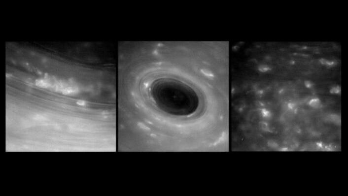Bildene her viser Saturns atmosfære på kloss hold, noe ingen tidligere har klart å ta. Det var første gang en sonde har dykket ned i området mellom Saturn og ringene kommet tilbake igjen. (Foto: Nasa)