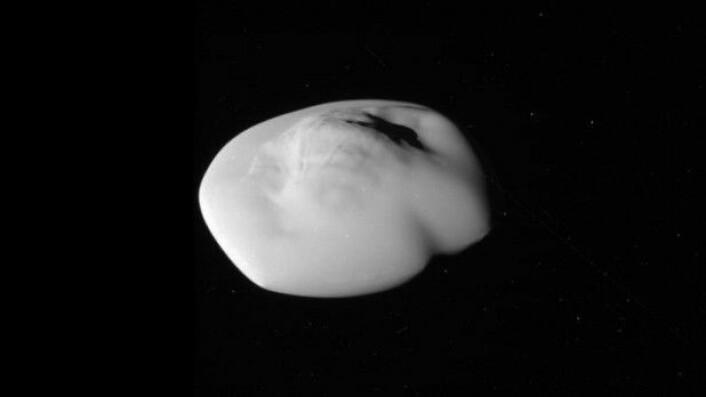 Ikke alle måner er runde. For et par måneder siden tok Cassini et par ubehandlede bilder av Saturns måne Atlas. Det er første gang vi har så gode bilder av Atlas, og de vil hjelpe med å kunne karakterisere månens form og geologi. Atlas går i bane rundt Saturns ytterste ring – A-ringen. (Foto: Nasa)