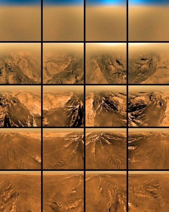 14. januar 2005 lander sonden Huygens, som har tatt turen til Saturn om bord på Cassini, på månen Titan. Før landingen sender Cassini bilder av Titans overflate, der det er enorme sjøer av flytende metan. (Foto: Nasa)