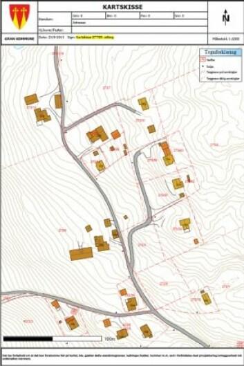 <strong>ETTER:</strong> Nå har det kommet tydelige grenser mellom eiendommene. (Foto: Gran kommune)