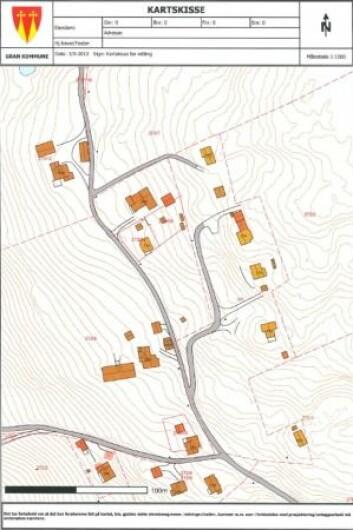 <strong>FØR:</strong> Slik så eiendomskartet ut før forskerne ryddet opp i spøkelseshusene. (Foto: Gran kommune)