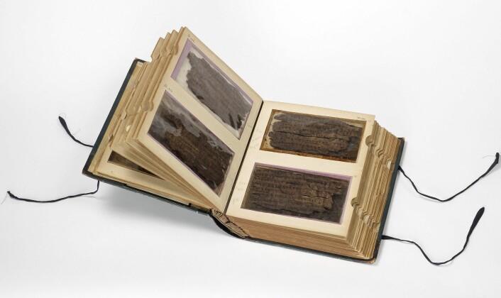 Bakhshali-manuskriptet består av 70 blader med bjørkenever. Nå viser det seg at ikke alle bladene er like gamle. (Foto: Bodleian Libraries, University of Oxford)