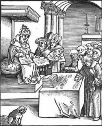 Gjennom å kjøpe avlatsbrev av den katolske kirken kunne du i Tyskland på begynnelsen av 1500-tallet kjøpe deg fri fra den evige straff for syndene dine. Martin Luther reagerte sterkt på denne praksisen og tok initiativ til en reformasjon som ga oss protestantismen. At frelsen er gratis, er fortsatt viktig i protestantismen.Graveringen over er også av Lucas Cranach den eldre. Den viser Paven som Antikrist i det han signerer og selger avlatsbrev. Bildet ble brukt i en bok av Luther fra 1521.