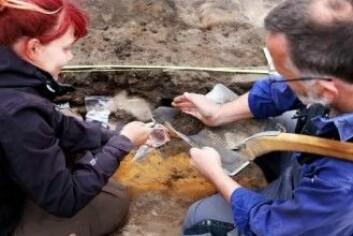 Under utgravingen ble det tatt prøver i en av jernovnene. (Foto: Maja Theodoraki)