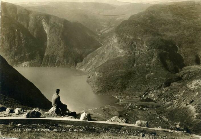 Slik så bygda Øvre Årdal ut før industrireisingen. Bildet er fra et gammelt postkort.
