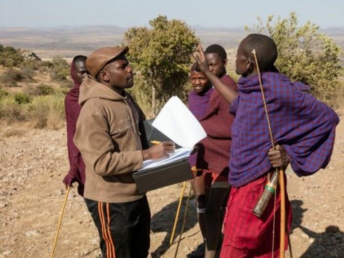 Stipendiat Franco Mbise intervjuer gjetere. (Foto: Per Harald Olsen/NTNU)