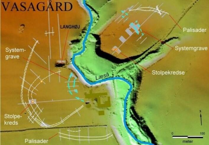Et kart over Vasagård. Tvers gjennom går elvedalen. (Kart: Bornholms Museum)
