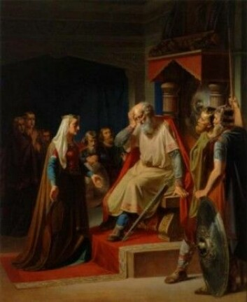 Thyra Danebod meddeler Gorm den Gamle om hans sønn Knuds død. (Wikimedia/Maleri av August Thomsen fra 1800-tallet)