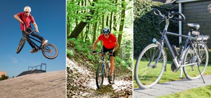 De siste skuddene på sykkelens evolusjonære tre: BMX-, terreng- og el-sykkel. (Foto: Colourbox)