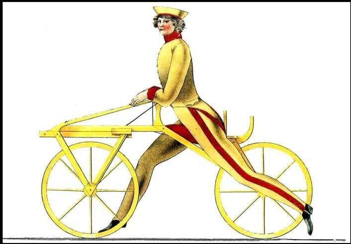 Slik tegnet karl Drais løpemaskinen i 1817. (Tegning: Karl Drais, Wikimedia Commons)