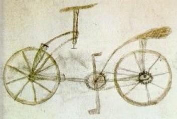 Den angivelige sykkelen til Leonardo da Vinci, angivelig tegnet av eleven Gian Giacomo Caprotti. (Foto: Wikimedia Commons)