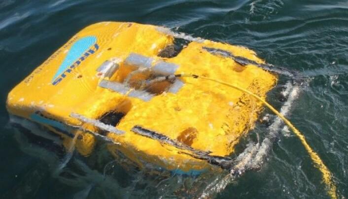 Denne ROVen trenes nå til å inspisere merder under vann. (Foto: Sintef/Maritime Robotics)
