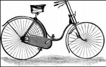 Tegning av en tidlig sikkerhetssykkel for kvinner. Kjedekassa hindrer at skjørtekantene setter seg fast i kjedet. (Illustrasjon: Wikimedia Commons)