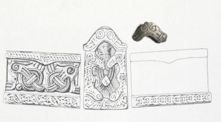 Ornamentikken på det lille beslaget funnet i Borgrings nordport svarer til den som er funnet på spennen fra Fyrkat, som det fremgår av bildet her. (Tegning: Museum Sydøstdanmark)