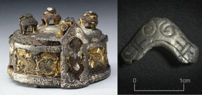 Til venstre ser vi spennen fra Fyrkat-graven – og til høyre funnet fra Borgring, som er nesten identisk med den øverste, buede delen foran i bildet av spennen. Fyrkat-kvinnen har brukt smykket som en slags skål til oppbevaring. (Foto: Nationalmuseet/Museum Sydøstdanmark)