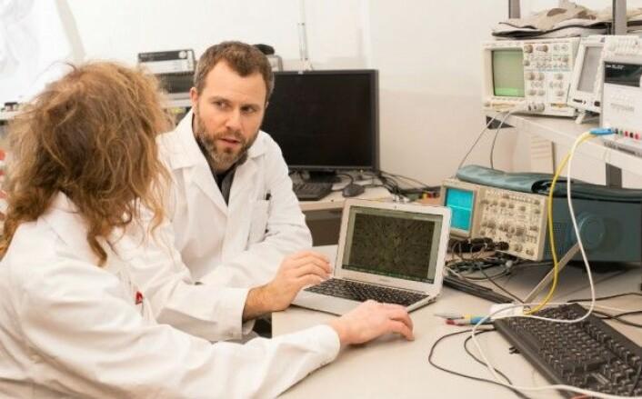 Førsteamanuensis Stefano Nichele, HiOA, og professor Gunnar Tufte, NTNU, bruker maskinlæringsalgoritmer for å prosessere nevrodata. (Foto: Kai T. Dragland )