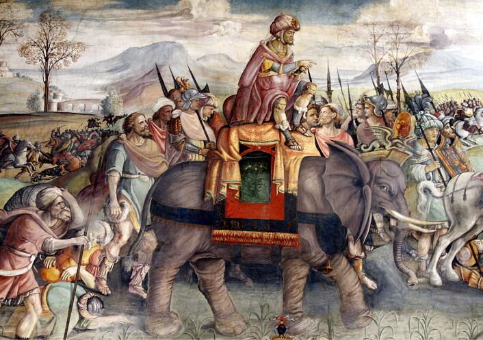 En freske fra rundt 1510 i Capitolini-museet i Roma viser hvordan det kan ha sett ut da Hannibal krysset Alpene på elefant. Krigeren fra Kartago måtte til slutt gi tapt mot Roma, som ble betraktelig rikere etter seieren. (Illustrasjon: José Luiz Bernardes Ribeiro / CC BY-SA 4.0)