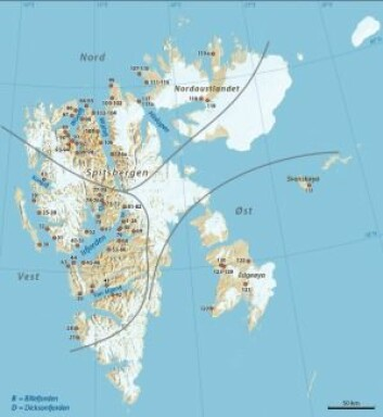 De hvite områdene er isbreer. De røde prikkene viser hvor det er funnet og datert blåskjell og andre varmekrevende skjell som omtales i artikkelen, tallene er bare for å holde dem adskilte.