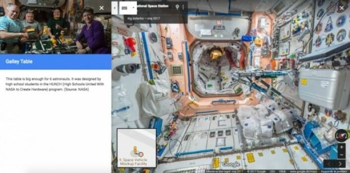 Det kan sitte seks astronauter rundt bordet. Der kan du også se ketchup, chilisaus og sennep. (Foto: Screenshot/Google)